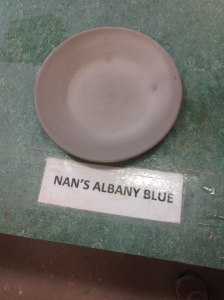 Glazed Chrome Tin Red under Nan's Albany Blue
